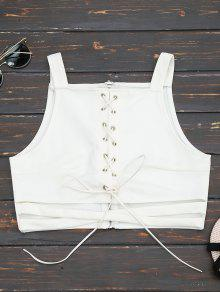 Criss Cross Cropped Lace Up Tank Top - White S