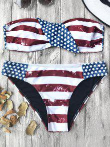 Bandera Americana Patriótico Bandeau Bikini Set - Rojo+blanco+azul S