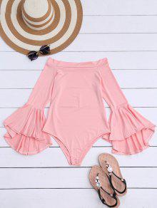 Trumpet Sleeve Off The Shoulder Bodysuit - Pink S
