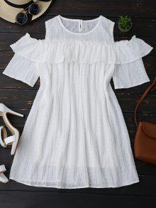 Cold Shoulder Ruffle Dress With Crease - White Xl