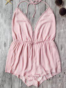 Plunge Halter Beach Cover Up Romper - Pink L