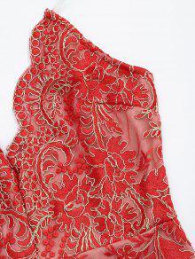 maillot de bain une pi ce brod bas lev rouge une pi ce m zaful. Black Bedroom Furniture Sets. Home Design Ideas