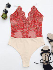 High Cut Embroidered One Piece Swimsuit - Red Xs