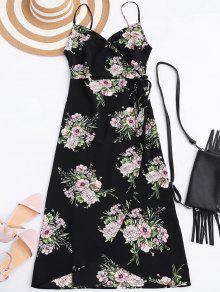 Slip Floral Wrap Dress - Black L