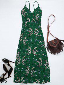 Vestido Maxi De Playa Con Tirante Fino Con Estampado Floral - Verde Xl