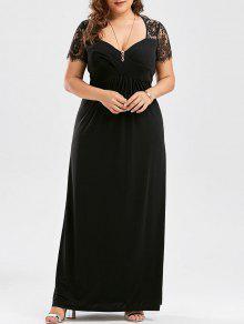 Plus Size Empire Waist Lace Panel Dress - Black 3xl