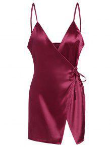 فستان مصغر كامي الساتان لف - نبيذ أحمر S