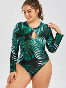 ef5b63f4bfd64 18% OFF  2019 Palm Leaf Print One Piece Plus Size Swimsuit In DEEP ...