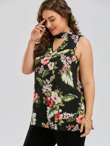 2019 Plus Size Keyhole Neck Floral Hawaiian Blouse In Green 3xl Zaful