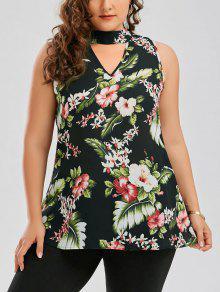 Plus Size Keyhole Neck Floral Hawaiian Blouse - Green 4xl