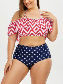 Chevron Star Print Plus Size Halter Bikini - Xl