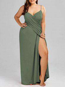 فستان ماكسي بنمط لف ذو مقاس كبير - الجيش الأخضر 3xl