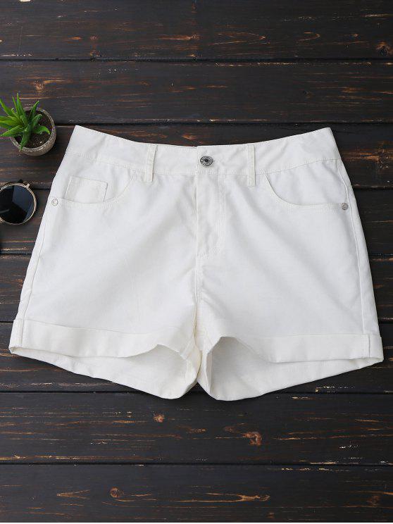 Pantalones cortos con dobladillo casual - Blanco 2XL