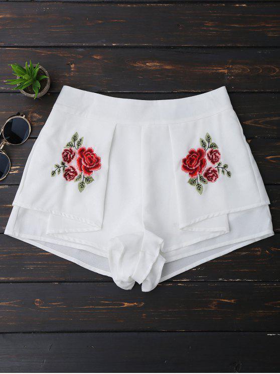Pantalones cortos bordados florales acodados - Blanco L