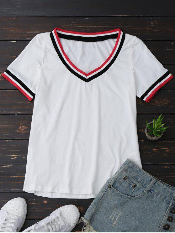 Top col V à rayures - Blanc L