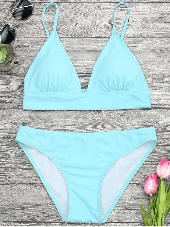 Camisole acolchado Cami Midi Bikini Top y partes inferiores - Turquesa L