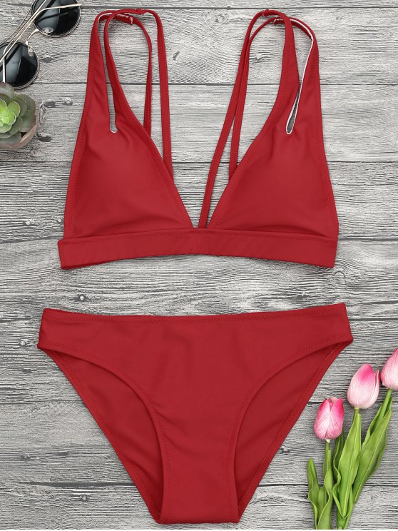 Traje de Bikini de Tirantes con Escote Pico - Rojo S