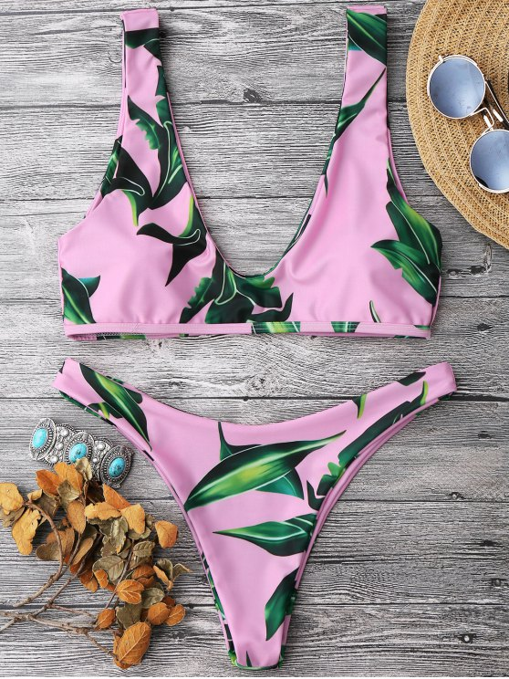 unique Leaf Print Pullover Scoop Bikini Set - PINK M