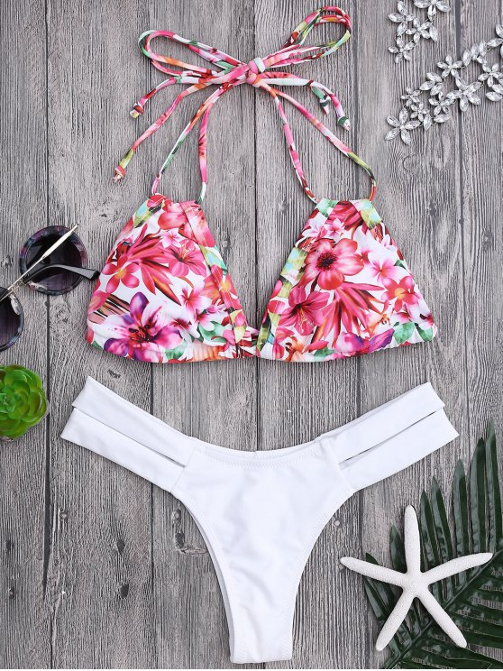women's Floral Swim Top and Bandage Thong Bikini bottoms - WHITE M