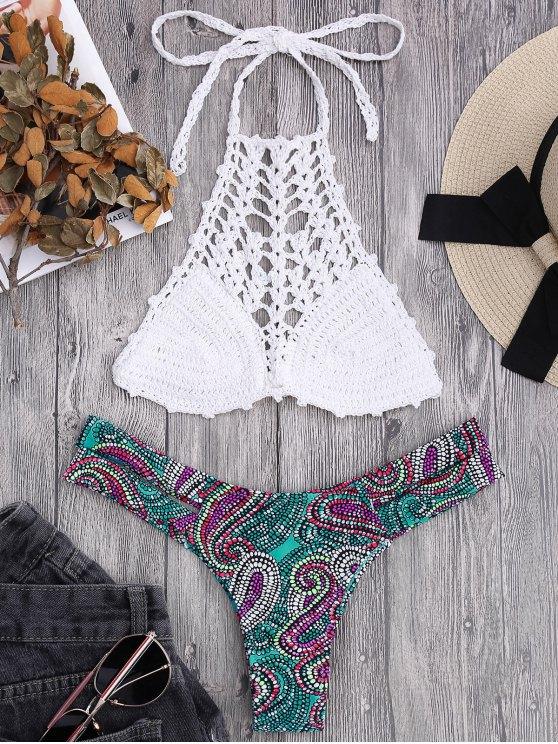online Bralette Crochet Top and Paisley Bandage Bikini Bottoms - WHITE S