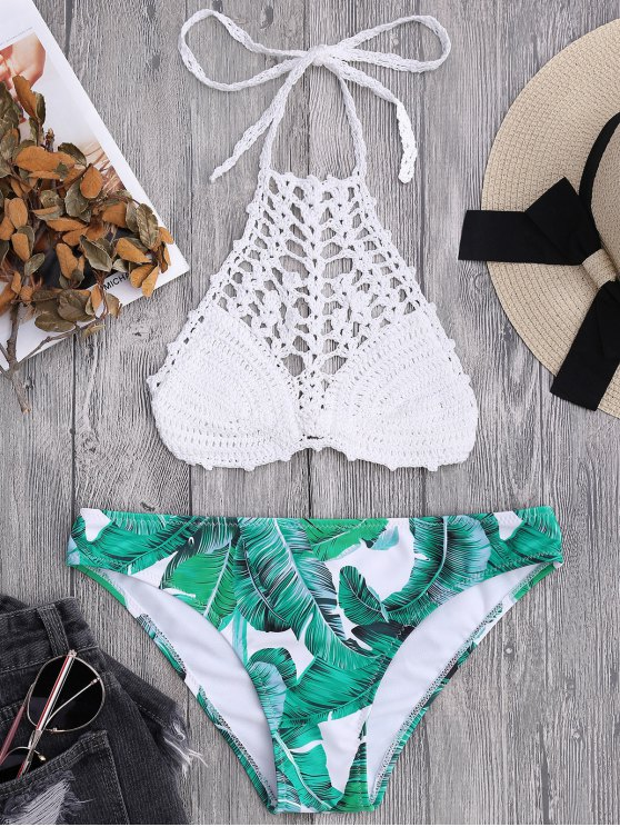 Bralette Top de ganchillo y Palmier Bikini Bottoms - Blanco L
