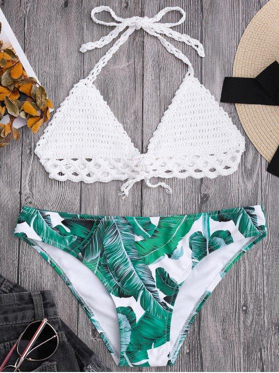 trendy Bralette Crochet Top and Leaf Print Bikini Bottoms - WHITE M
