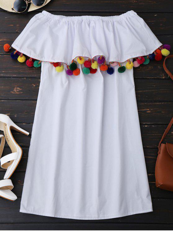 Robe Mini à Volants embelli pompons multicolores aux Épaules Dénudées - Blanc S