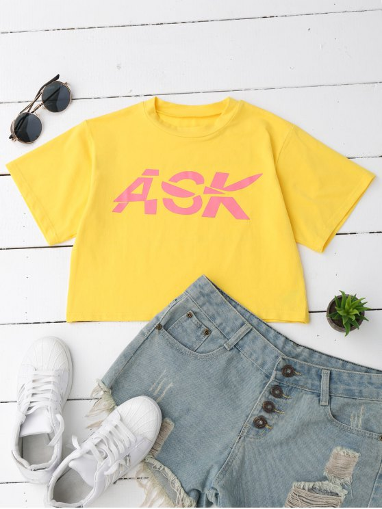 shop Loose Letter Cropped T-Shirt - YELLOW S