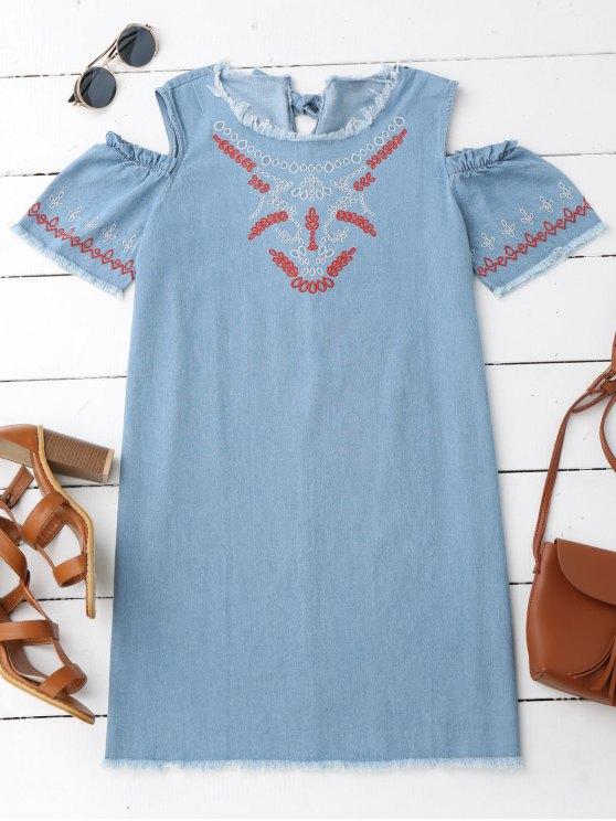 new Embroidered Cold Shoulder Denim Casual Dress - DENIM BLUE S