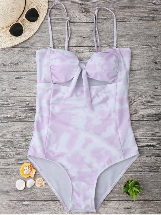 shop Cut Out Tie-Dyed Bowknot Swimwear - LIGHT PURPLE L