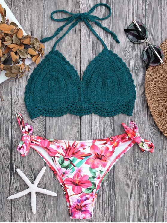 online Tied Bralette Floral Crochet Bikini Set - BLACKISH GREEN S
