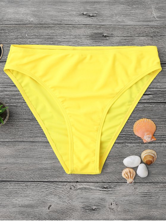 outfits Mid Waisted High Cut Swim Bottoms - YELLOW L
