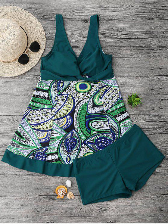 Twist Plus Size Skirted Top Tankini con pugili - Verde Nerastro 3XL