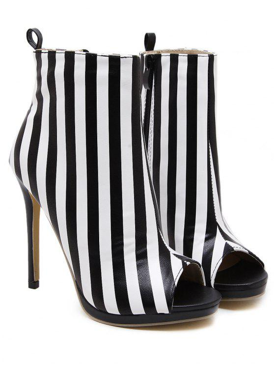 best Zipper Striped Peep Toe Ankle Boots - BLACK STRIPE 39