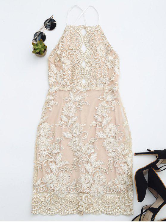 Robe Mini de plage avce broderie florale - Champagne M