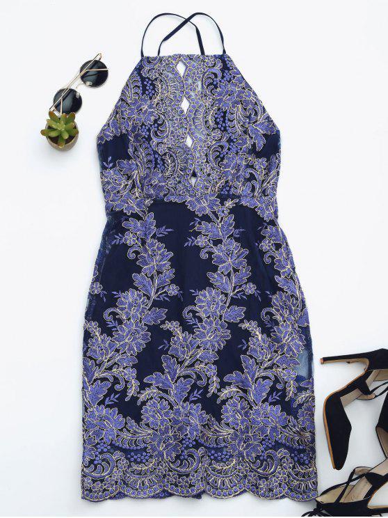 unique Embroidered Bodycon Mini Beach Dress - ROYAL BLUE S