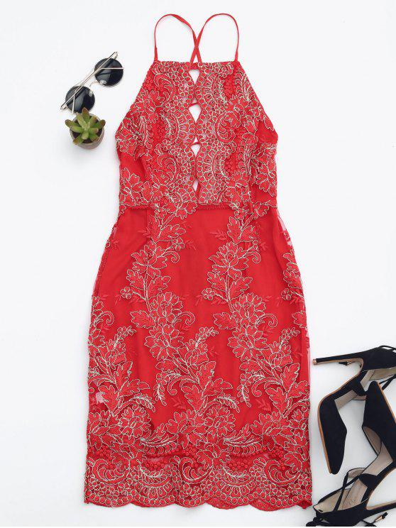 Robe Mini de plage avce broderie florale - Rouge S