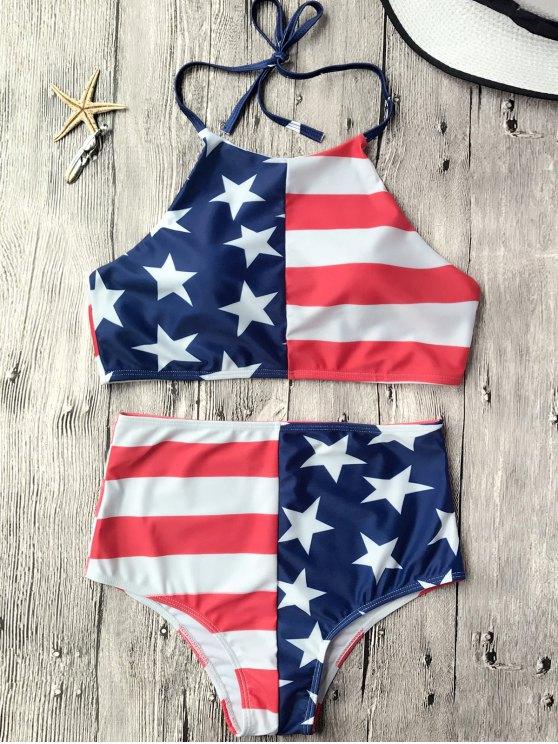 Juego de bikini patriótico de alta cintura USA - Bandera de Estados Unidos L