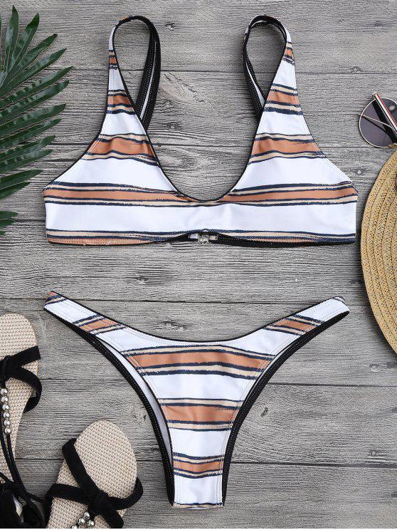 Conjunto de bikini de cuchara de corte alto rayado - Blanco S