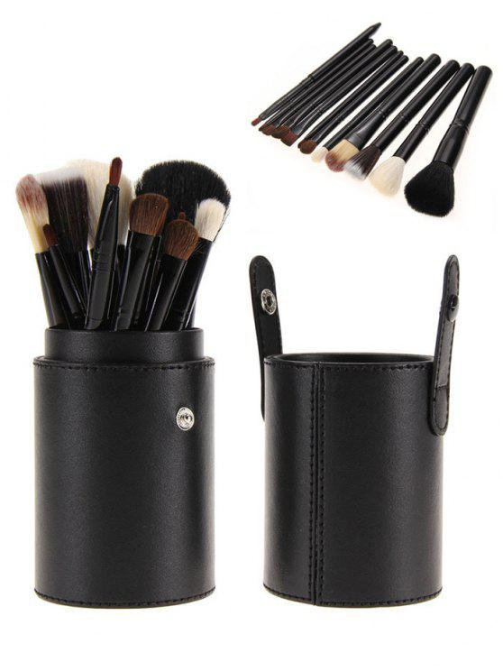 12Pcs Multifunction Makeup Brushes Set with Bucket - Preto
