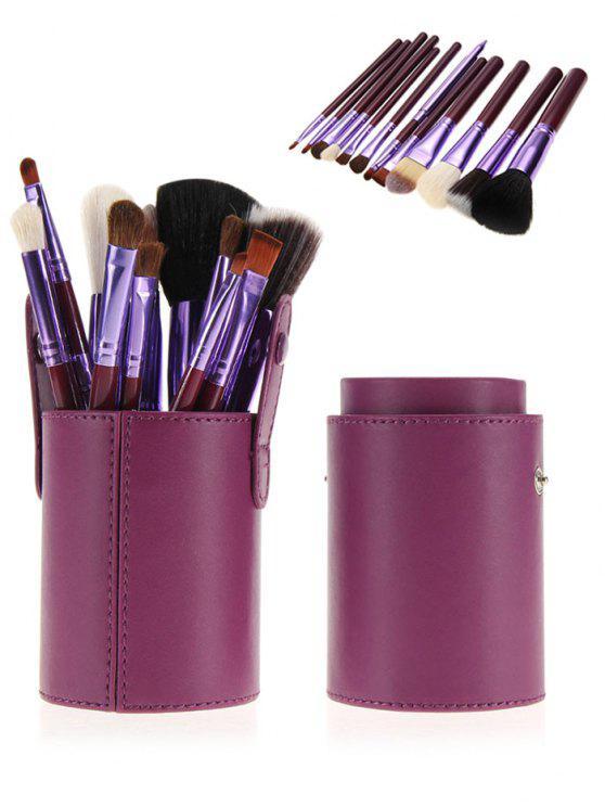 12pcs multifunción maquillaje pinceles conjunto con cubo - Púrpura