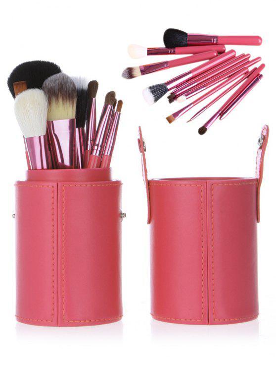 12pcs multifunción maquillaje pinceles conjunto con cubo - Rosado