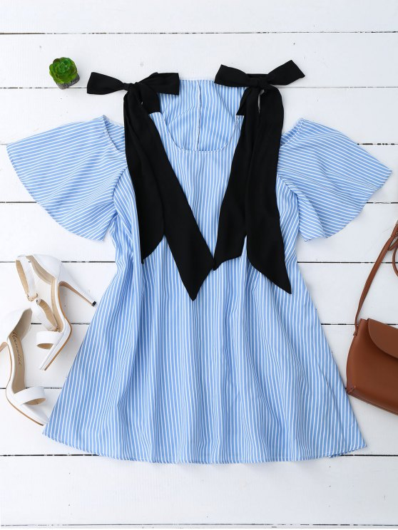 sale Bowknot Straps Cold Shoulder Mini Dress - STRIPE L
