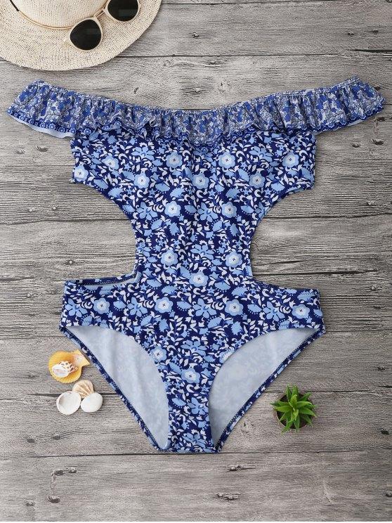 Maillot de bain découpé à grande taille à épaules tombantes avec falbalas - Floral 2XL