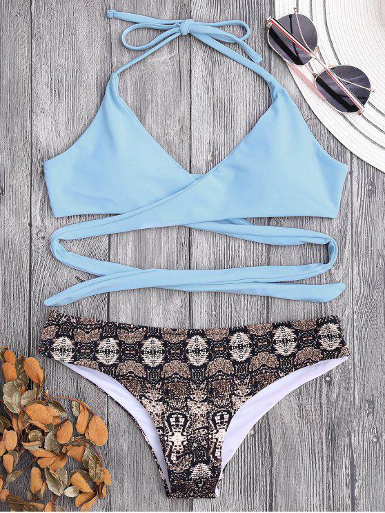 Bikini recubierto de estampado de impresión retro - Azul Claro S