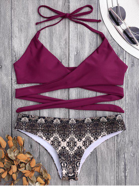 Bikini recubierto de estampado de impresión retro - Burdeos S