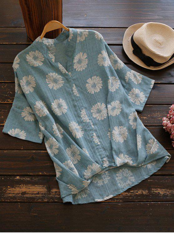 Blusa floral de lana de alta flor de Sun - Azul Claro Única Talla