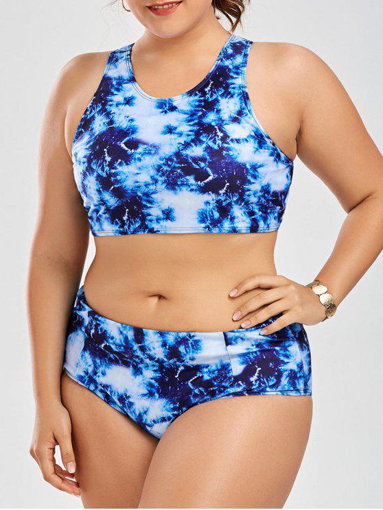 online Racerback High Waisted Plus Size Bikini Set - BLUE 2XL