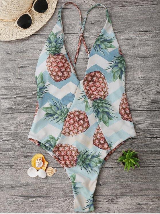 fancy Cross Back Pineapple High Cut Swimwear - COLORMIX M