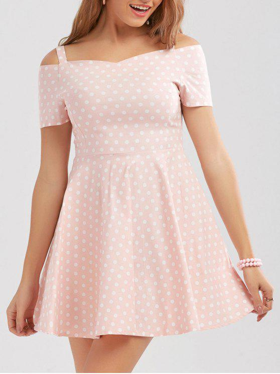 فستان قصير البولكا نقطة - زهري L